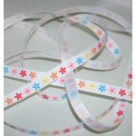 SRH - Grosgrain 3/8 Multi Flowers White (BND0251)