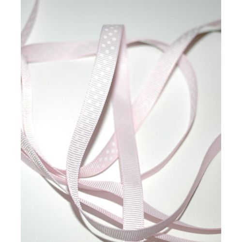 SRH Ribbon - Grosgrain 3/8 - Icy Pink mit white Dots