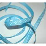 SRH Ribbon - Grosgrain 3/8 - Blue Mist mit white Dots