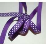 SRH Ribbon - Grosgrain 3/8 - Regal Purpur mit white Dots