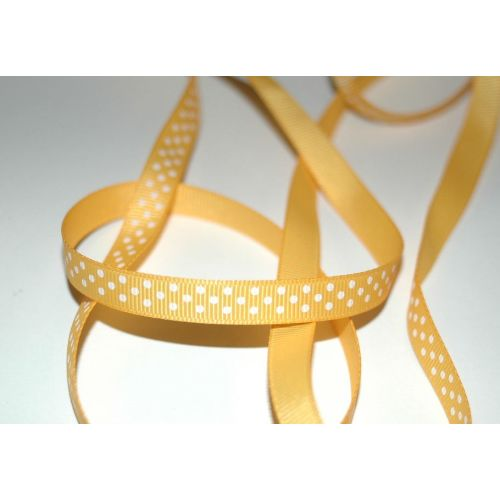 SRH Ribbon - Grosgrain 3/8 - Yellow Gold mit white Dots