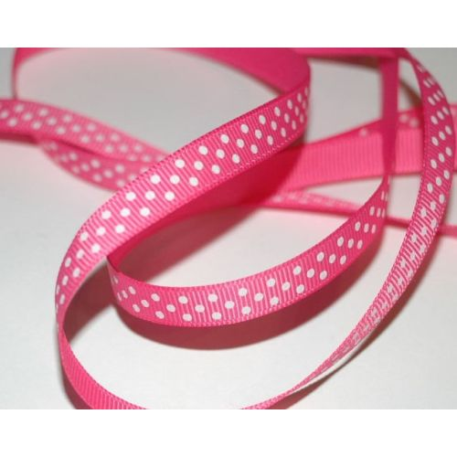 SRH Ribbon - Grosgrain 3/8 - Hot Pink mit white Dots