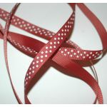 SRH Ribbon - Grosgrain 3/8 - Rust mit white Dots