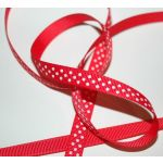 SRH Ribbon - Grosgrain 3/8 - Hot Red mit white Dots