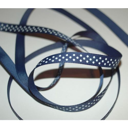 SRH Ribbon - Grosgrain 3/8 - Light Navy mit white Dots