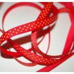 SRH Ribbon - Grosgrain 3/8 - Hot Red mit Tangerine Dots