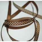 SRH Ribbon - Grosgrain 3/8 - Turftan mit cream Dots