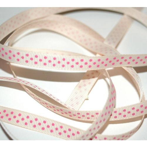 SRH Ribbon - Grosgrain 3/8 - Nude mit hot pink Dots