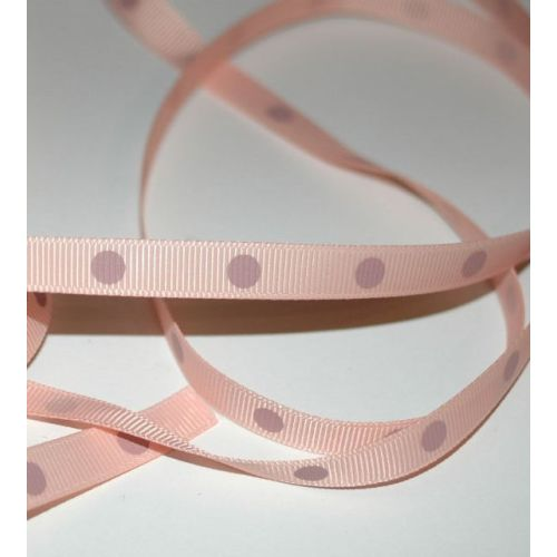 SRH Ribbon - Grosgrain 3/8 - Moonstone mit antique mauve Big Dots