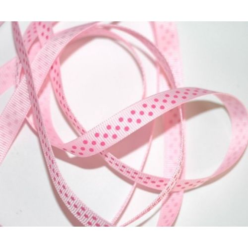SRH Ribbon - Grosgrain 3/8 - Pearl Pink mit hot pink Dots