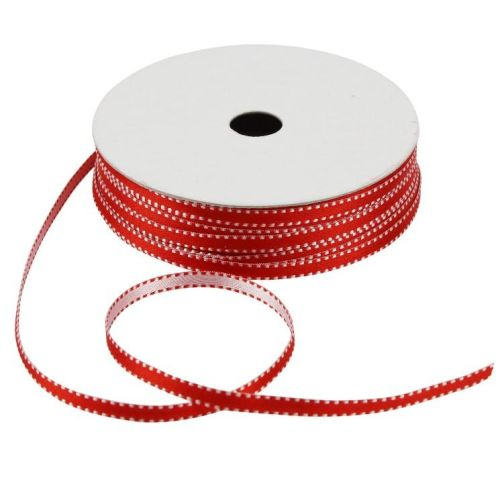CCH Band - Satin Doubletone Stitches Red 5 mm
