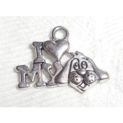 SRH Charm - Silver I Love my Dog 15x20 mm