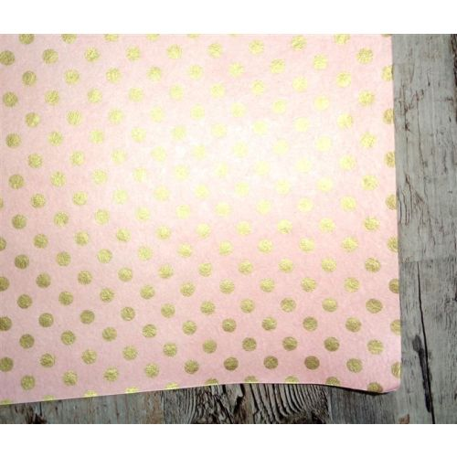 SRH Cotton Leather/Baumwoll-Papier - Rose mit Goldenen Dots 55x75 cm