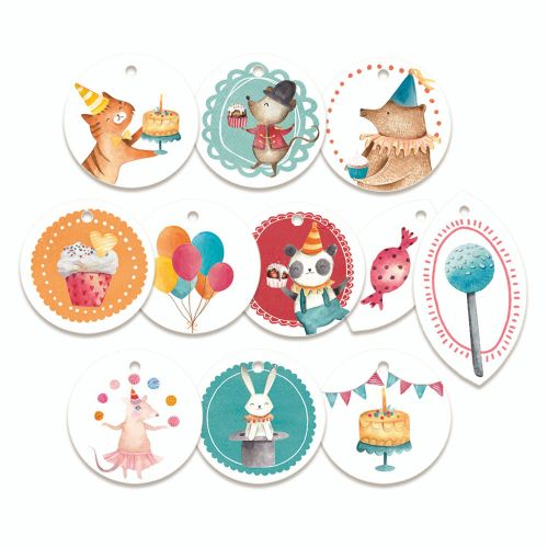 P13 Embellishment - Happy Birthday Round Tags I